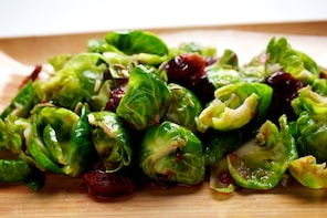 Brussels Sprout Petals With Coriander Vinaigrette and Pickled Cranberries